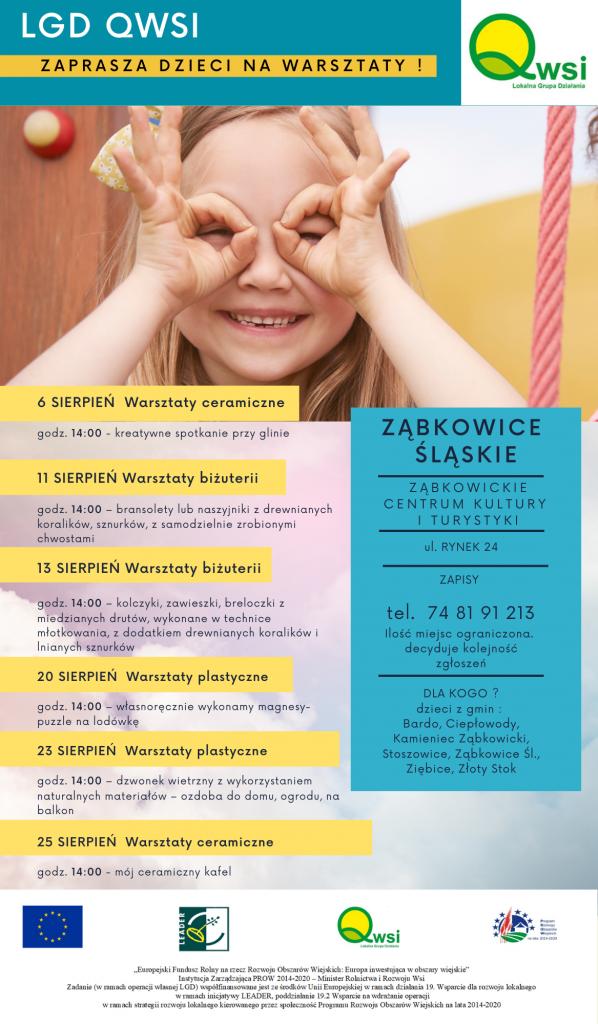 Lokalna Grupa Działania QWSI zaprasza na bezpłatne warsztaty dla najmłodszych dzieci z gmin Ząbkowice, Bardo, Ciepłowody, Kamieniec, Stoszowice, Ziębice oraz Złoty Stok.
